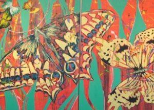 Moderne farverigt maleri - Sommerfugle dobbeltmaleri 2007 - Billedkunstner Odder Lars Stounberg