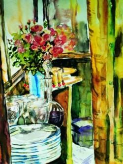 Cafe anretterbord Akvarel Lars Stounberg 1999