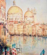 Titel: Santa Maria della salute Venedig akvarel 63 x 36 cm 2003 - Billedkunstner Odder Lars Stounberg