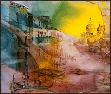 Canal Grande Venedig - Akvarel af billedkunstner Lars Stounberg