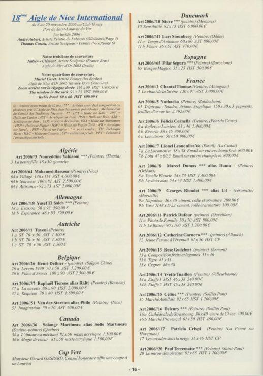 Lars Stounberg i kataloget for den censurerede udstilling   Aigle de Nice International 2006