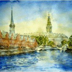Titel: Christiansborg Akvarel 51 x 68 cm 1998 - Billedkunstner Odder Lars Stounberg