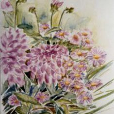 Titel: Chrysantimum akvarel 32 x 42 cm 2002 - Billedkunstner Odder Lars Stounberg