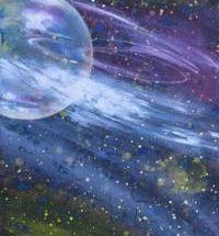 Maleri - Kosmos planeter 2009 - Billedkunstner Odder Lars Stounberg