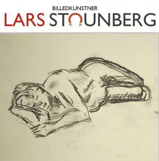 Croquis-tegning liggende kvinde - julekalender kunst malerier og croquis-tegninger 2017 - Lars Stounberg