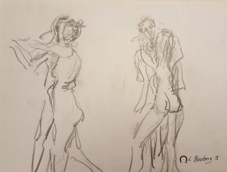 Croquis 2 dansende par 2018 billedkunstner Lars Stounberg