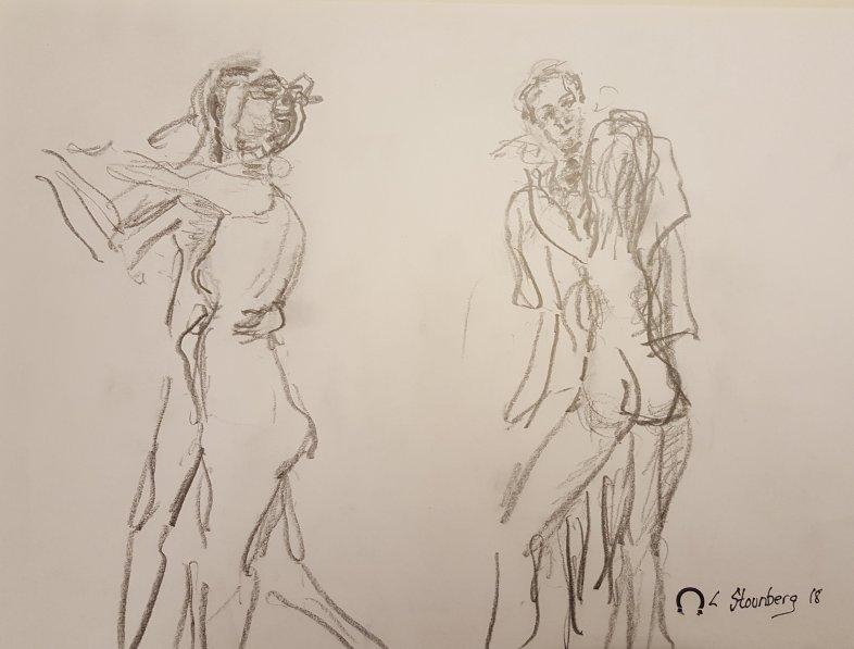 Croquis mand og kvinde 2 dansende par 2018 billedkunstner Lars Stounberg