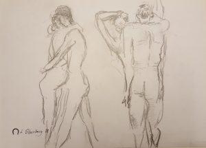 Croquis - mand og kvinde - 2 dansende par 2018 kunstner Lars Stounberg