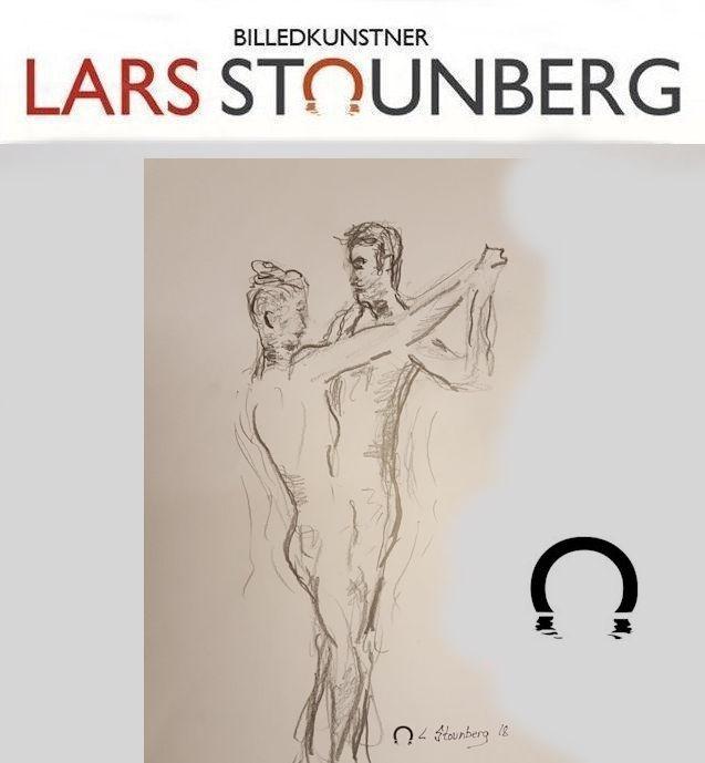 Croquis-tegning dans mand og kvinde 2018 af billedkunstner Lars Stounberg