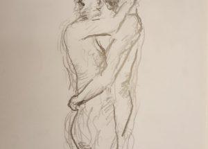 Croquis elskende par mand og kvinde 2018 billedkunstner Lars Stounberg