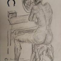 Nøgen tegning kvinde i soveværelse 2020 af Lars Stounberg