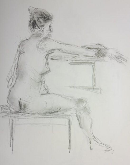 Croquis-tegning kvinde på stol 2017 billedkunstner Lars Stounberg