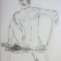 Croquis-tegning kvinde på bænk 2017 billedkunstner Lars Stounberg