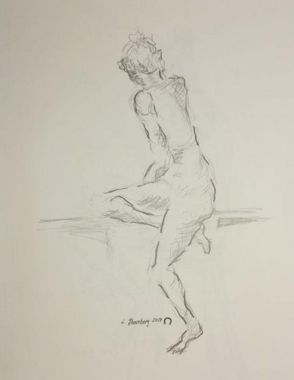 Croquis kvinde på moderne bænk 2017 billedkunstner Lars Stounberg
