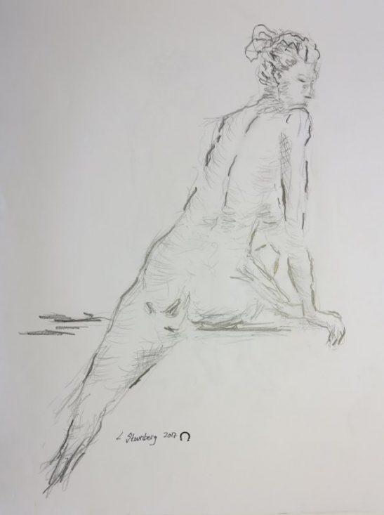 Udstilling i kunstforeninger - Croquis-tegninger kvinde skråt på bænk 2017 billedkunstner Lars Stounberg