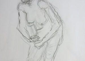 Croquis-tegninger Kvinde stående med knytte hænder 2017 Billedkunstner Odder Lars Stounberg