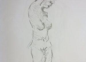 Croquis-tegninger stående kvinde med armen opad 2017 billedkunstner Lars Stounberg