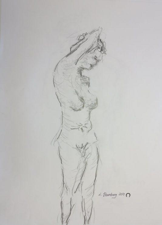 Croquis stående kvinde med armen opad 2017 billedkunstner Lars Stounberg