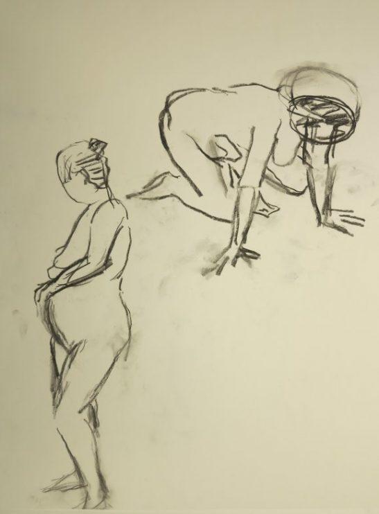 Croquis-tegninger af 2 forskellige kvinder 2015 af billedkunstner Lars Stounberg