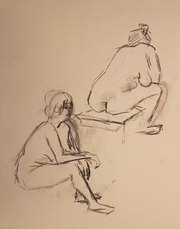 Croquis af 2 siddende kvinder 2015 af billedkunstner Lars Stounberg