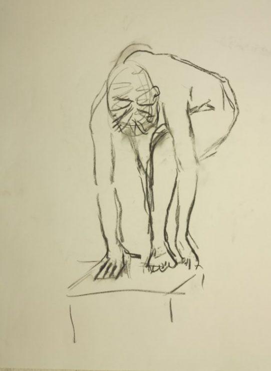 Croquis af stående kvinde ved stol 2015 af billedkunstner