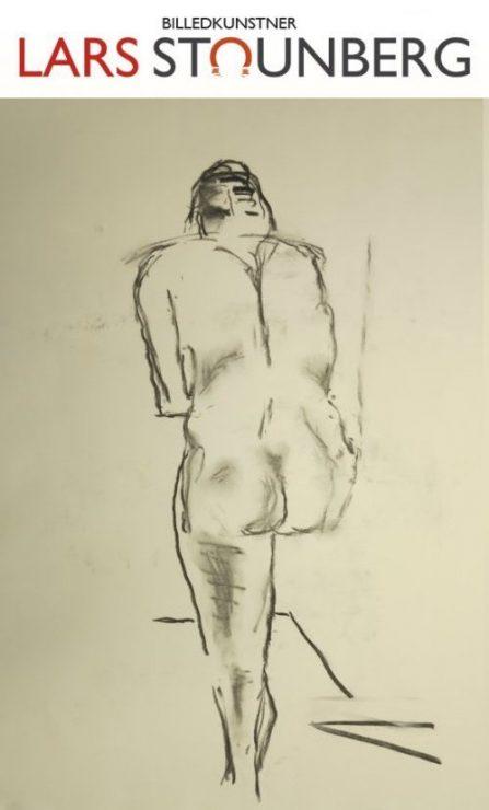 Croquis stående kvinde ved stol 2015 billedkunstner Odder Lars Stounberg