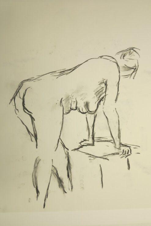Croquis af kvinde ved stol 2015 af billedkunstner Lars Stounberg