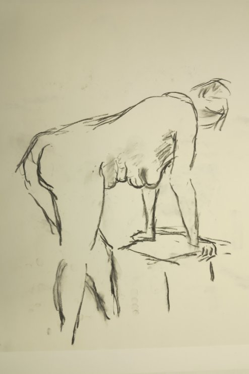 Croquis-tegning af kvinde ved stol 2015 af billedkunstner Lars Stounberg