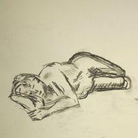 Croquis-tegninger af liggende kvinde ved stranden 2015 af billedkunstner Lars Stounberg