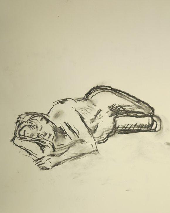 Croquis-tegninger af liggende kvinde 2015 af billedkunstner Lars Stounberg