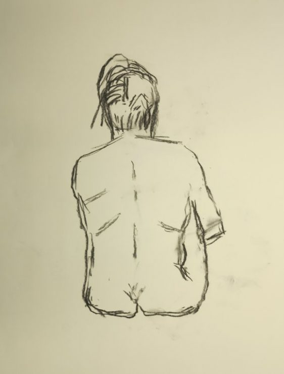 Croquis af siddende kvinde 2015 af billedkunstner Lars Stounberg