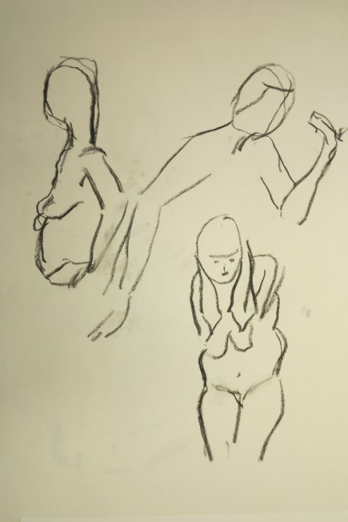 Croquis af 3 kvinder 2015 af billedkunstner Lars Stounberg