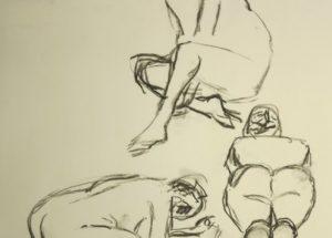 Croquis-tegning af 3 siddende kvinder 2015 af billedkunstner Lars Stounberg