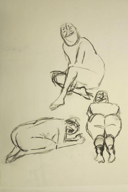 Croquis af 3 siddende kvinder 2015 af billedkunstner Lars Stounberg