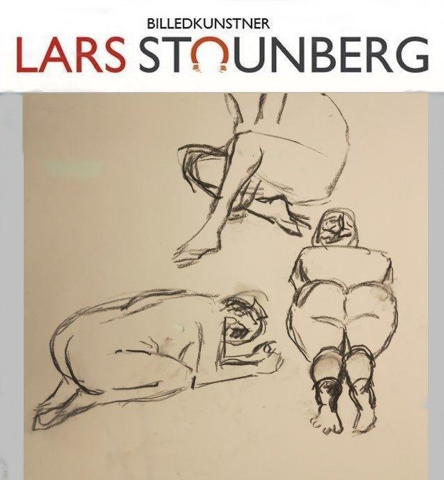 Croquis-tegning 3 siddende kvinder kunstner Odder Lars Stounberg 2015