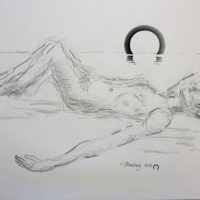 Croquis-tegninger liggende kvinde på stranden 2017 Lars Stounberg