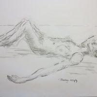 Croquis-tegninger hvilende kvinde på stranden 2017 Lars Stounberg