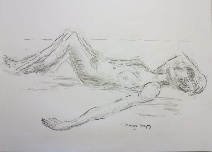 Croquis hvilende kvinde på stranden 2017 Lars Stounberg