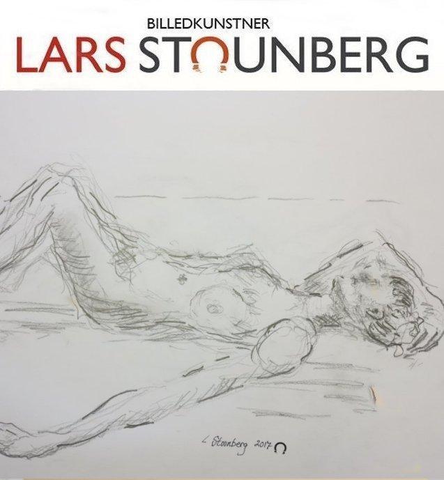 Croquis liggende kvinde ved stranden 2017 - billedkunstner Lars Stounberg