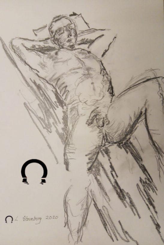 Croquis-tegning hvilende nøgen mand ved stranden tegnet 2020 af Lars Stounberg