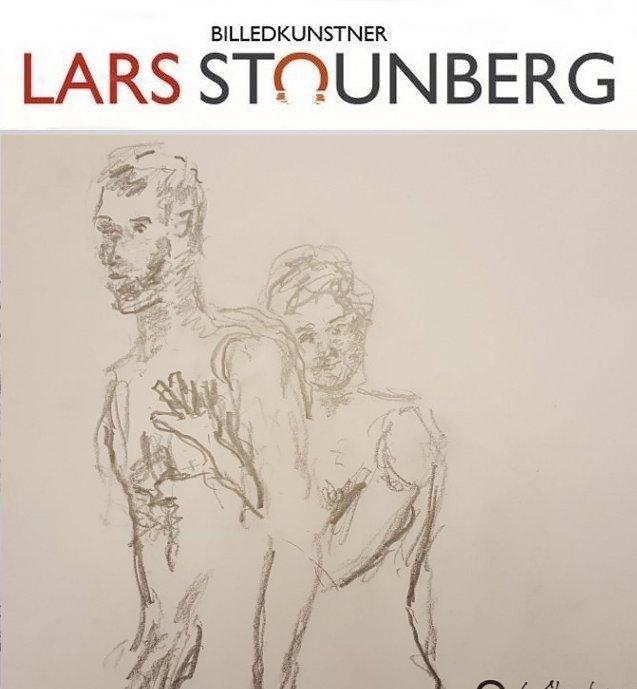 Croquistegning mand kvinden rører ved hinaden af billedkunstner Lars Stounberg 2018