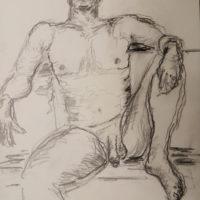 Bliv tegnet i croquis - nøgen-tegning af siddende mand ved stranden tegnet 2020 af Lars Stounberg