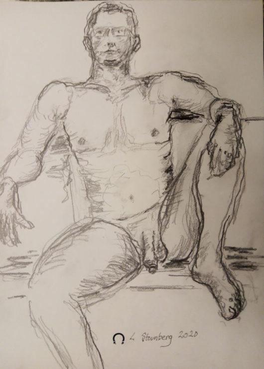 Croquis-tegning - nøgen-tegning af siddende nøgen mand tegnet 2020 af Lars Stounberg