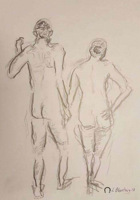 Croquis mand og kvinde - gående par bagfra 2018 - billedkunstner Lars Stounberg
