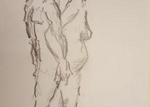 Croquis - kvinde og mand ryg mod ryg 2018 Lars Stounberg