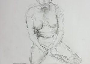 Croquis-tegning Siddende kvinde med hænder i skødet 2017 Billedkunstner Odder Lars Stounberg