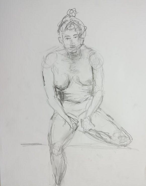 Croquis Siddende kvinde med hænder i skødet 2017 Billedkunstner Odder Lars Stounberg