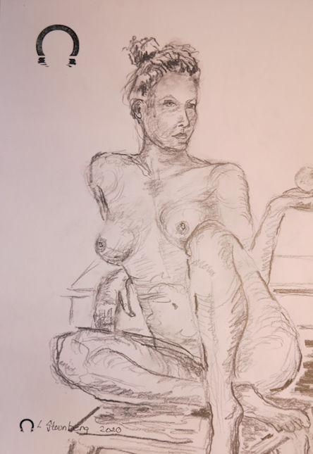 Croquis-tegning kvinde på taburet tegnet 2020 af Lars Stounberg