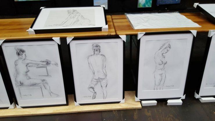 Croquis-tegninger på Sommerudstilling Helsingør 2017 - Billedkunstner Lars Stounberg