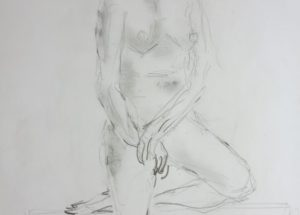 Croquis-tegninger - Stående Kvinde med benet oppe 2017 Billedkunstner Odder Lars Stounberg